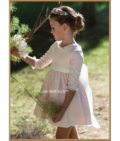 Vestido blanco con estampado y ribete