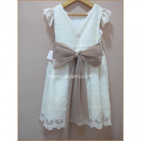 Vestido brocado blanco y detalles en azul