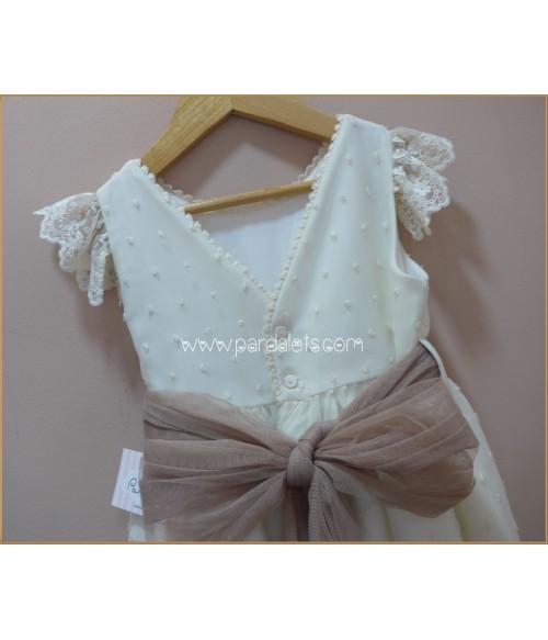 Vestido brocado blanco y cenefa malva y rosa
