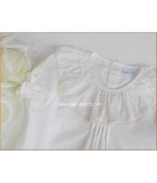 Vestido raso blanco y coral a rayas Atelier Candela