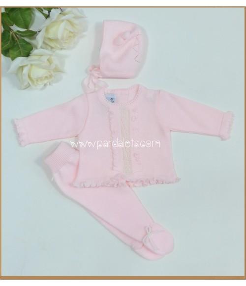 Jubón y polaina rosa bebe y capota