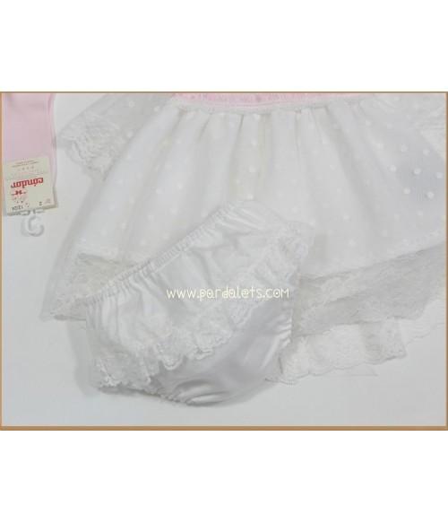 Jubon y polaina algodon blanco con capota Mac ilusion