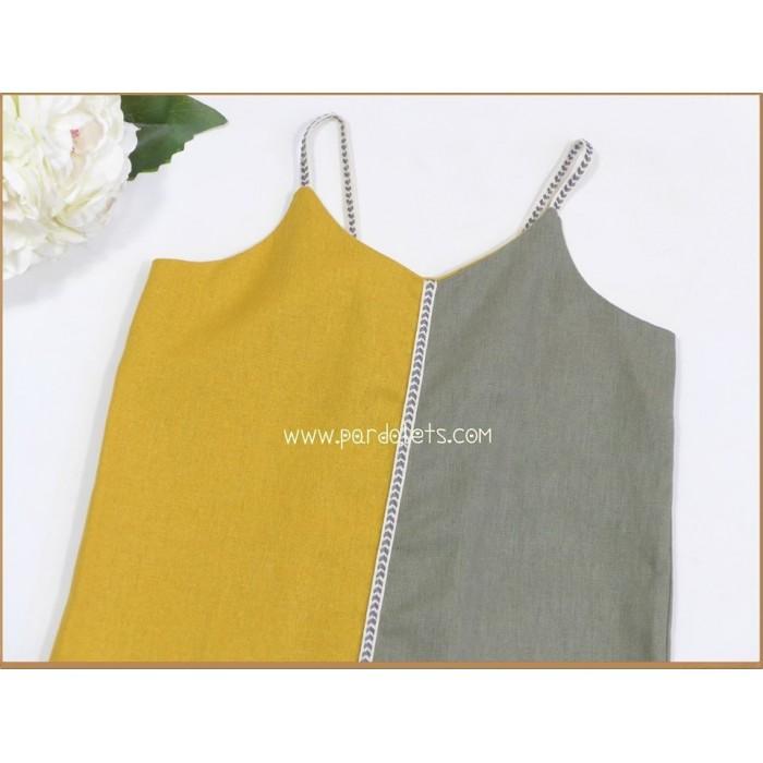 Vestido blanco grabado con lazo amarillo Clara Año