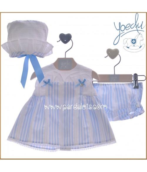 Vestido azul estampado barquitos