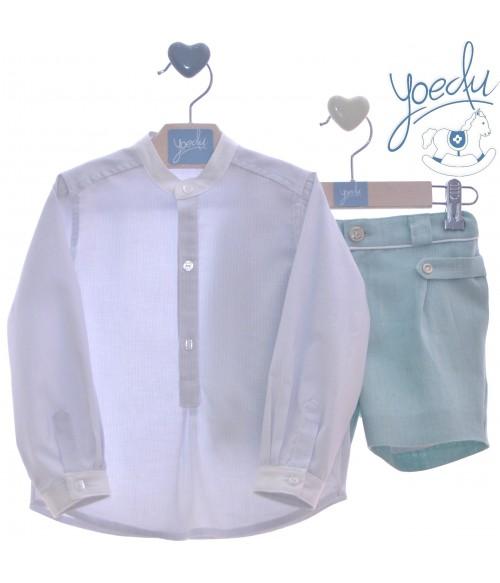 Jubon y polaina blanco y azul algodon Paz Rodriguez
