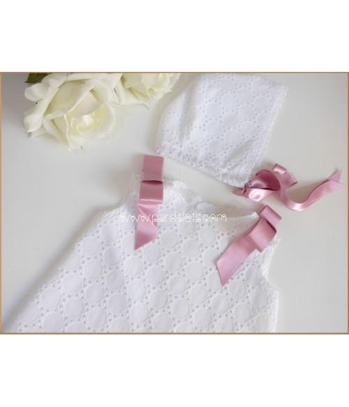 Vestido pique estampado floral fucsia