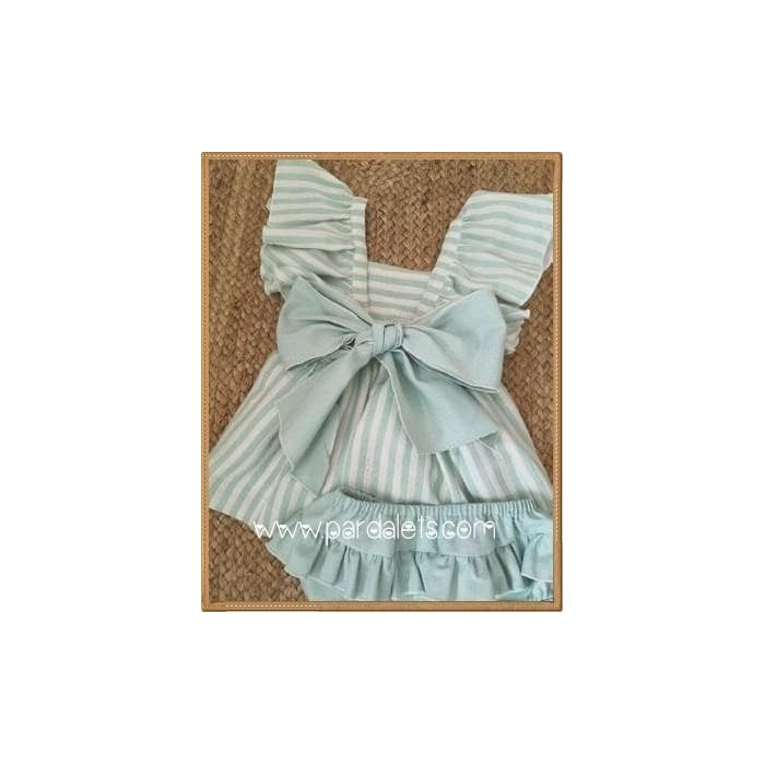 Conjunto blusa blanca y culote lino camel