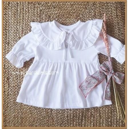 Vestido puntillas y tul de plumeti blanco