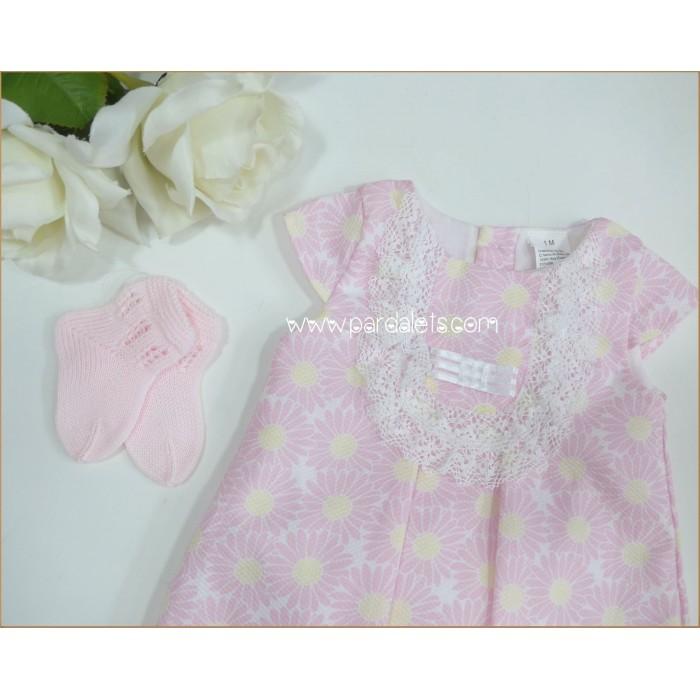 Vestido rosa con estampado floral Atelier de Candela