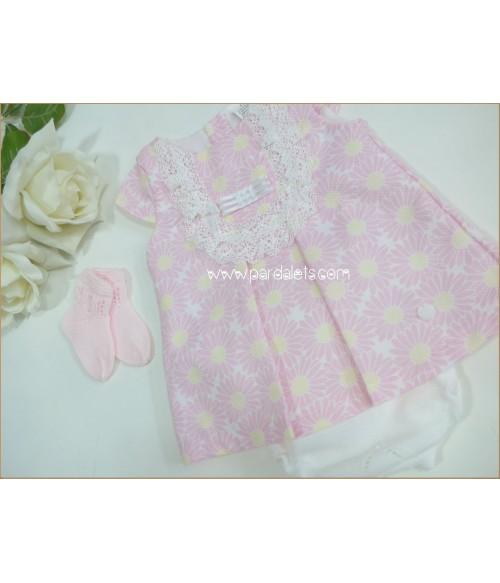 Vestido plumeti rosa y estampado pajaritos