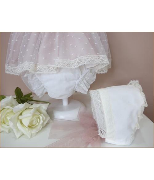 Vestido raso blanco y coral con fajin flores