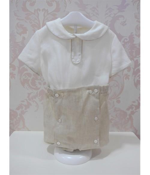 Conjunto blusa blanca y falda burdeos topitos
