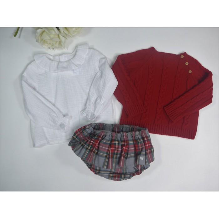 Conjunto camisa batista bordada y bombacho celeste