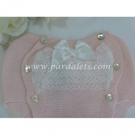 Jubon y polaina rosa con pasacintas beig