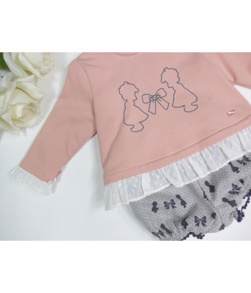 Conjunto jersey rosa empolvado y culote florecitas