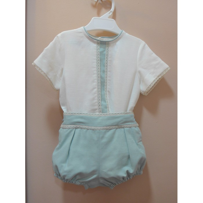 Conjunto blusa plumeti azul y short jaspeado