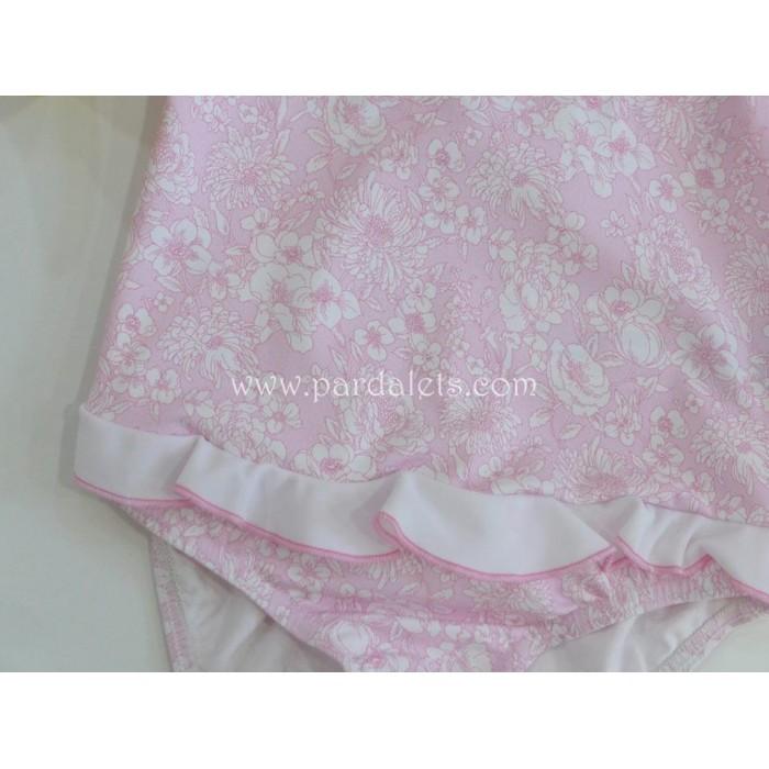 Camisa rosa de plumeti y puntilla Paloma de la O