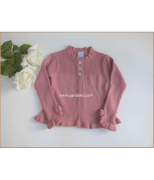 Capota lana rosa pompon pelo Ancar