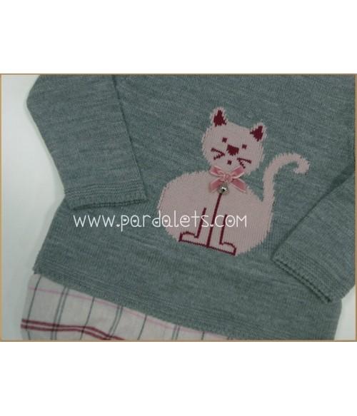 Capota lana rosa y blanco Paz Rodriguez