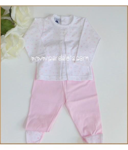 Vestido manga larga rosa empovado